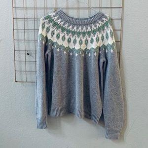 🆕NWT JOE FRESH gray fair isle knitted sweater L